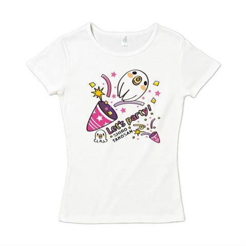 キャラT59 たこさんwinなー 白たこさんパーティ_C レディースタイプ6.2オンス CVC フライス Tシャツ