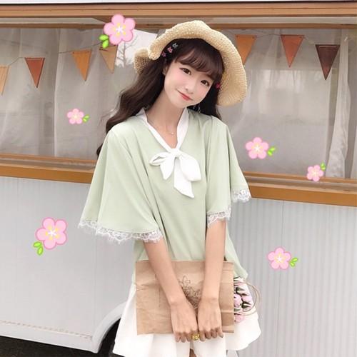 【トップス】韓国風スウィート気質良いリボン付きレースシャツ