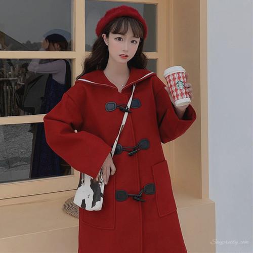 【アウター】秋冬日系少女スウィートレトロセーラーカラーロングナイロンコート