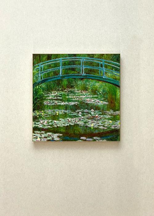 素敵なアートパネル180mm角 睡蓮と日本の橋  ビンセント・モネ 石膏ボード用ひっかけ金具付き
