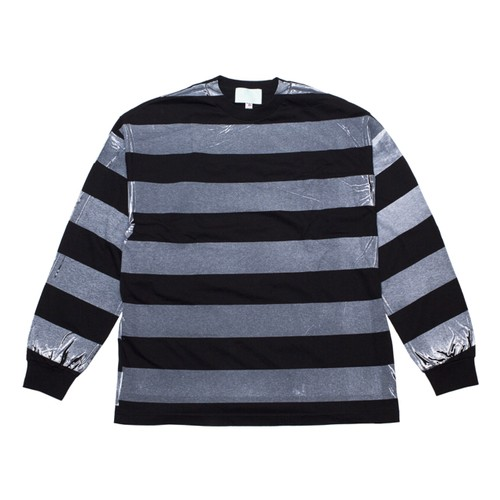 EZ DO by EACHTIME. | PRINT BORDER L/S [BK/WH]