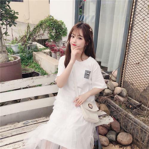 【送料無料】チュールが可愛い ♡ Tシャツ 半袖 ミモレ丈 ドッキング アシンメトリー ワンピース
