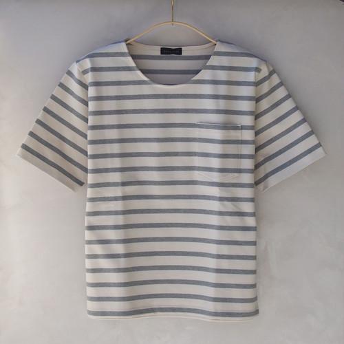 smoothday 60/8 ボーダーTシャツ Ecru×TOP Gray