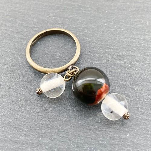 飛騨春慶塗 リング 緑箔(指輪)(R006)
