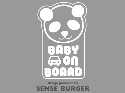 BABY ON BOARD ステッカー シール デカール baby in car パンダ ドライブサイン 白 ホワイト【sti02611whi】