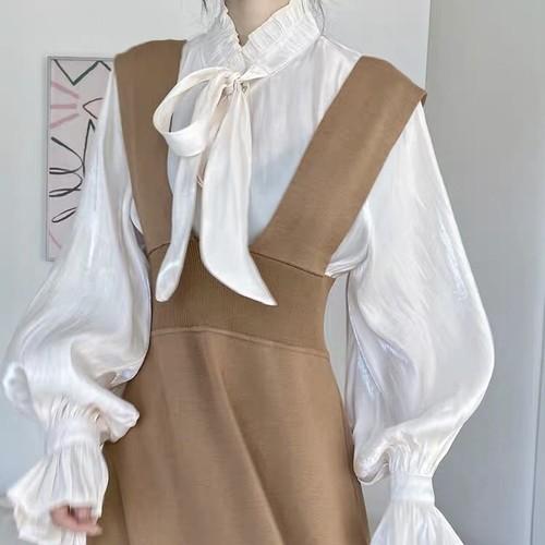 knit shoulder salopette skirt 3c's