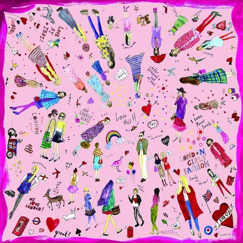 スカーフ「LONDON GIRLS」ピンク