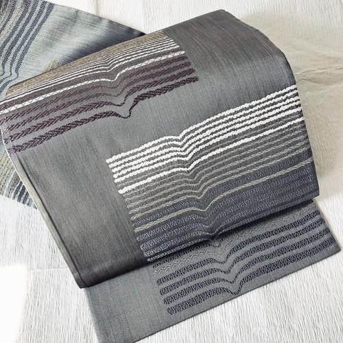 【使用感なし】洒落袋 六通 モール織 横ライン シャイニーグレー