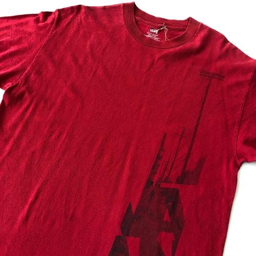 VANS バンズ 縦ロゴプリント Tシャツ Lサイズ 赤