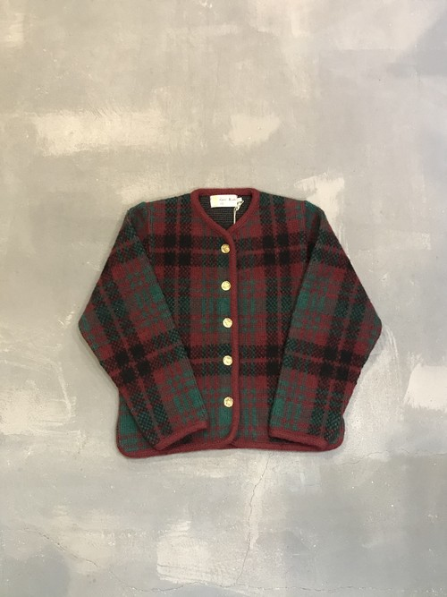 Wool Check No-collar Jacket / Made in Scotland [2018]