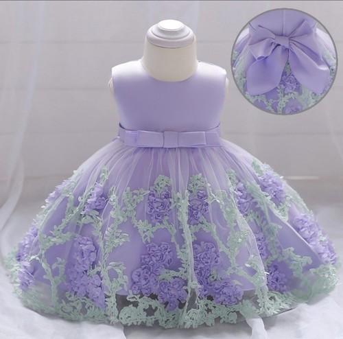 【送料無料】パープル⭐️上品で華やかなキッズドレス & パニエセット品 パープル色