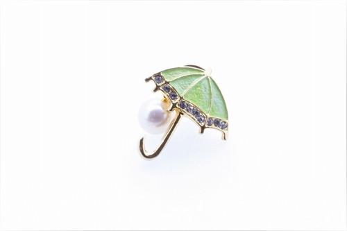 アコヤ真珠 ピンブローチ〈アンブレラ〉グリーン