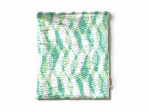 ハリネズミ用寝袋 L(夏用) 綿リップル×スムースニット 波柄 グリーン