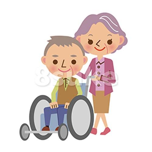 イラスト素材:車椅子を押す仲良し老夫婦(ベクター・JPG)