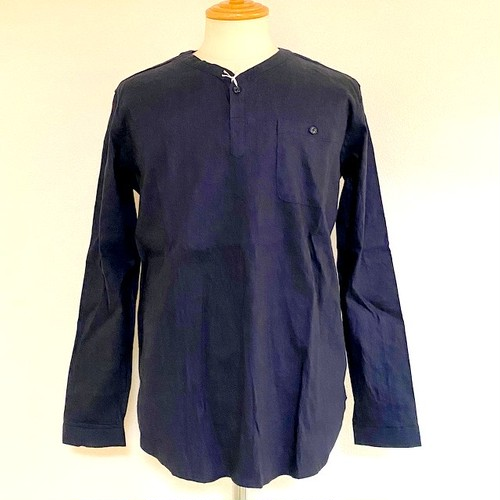 Stretch Linen Pullover Shirts Navy