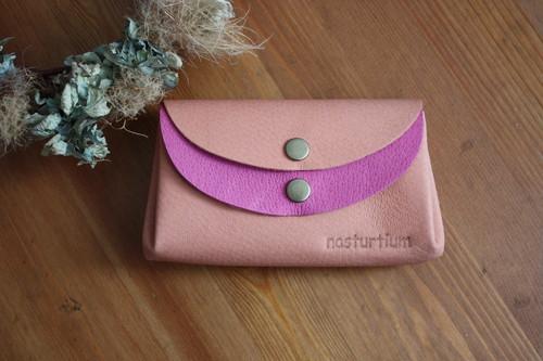 ピッグスキンの小さなお財布 アプリコット×ピンク