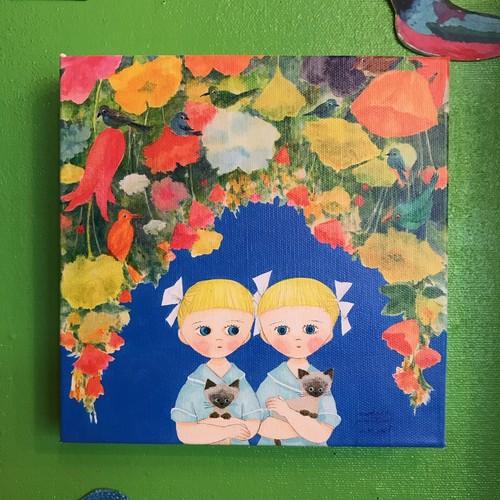 キャンパスプリント「twins&flowers」