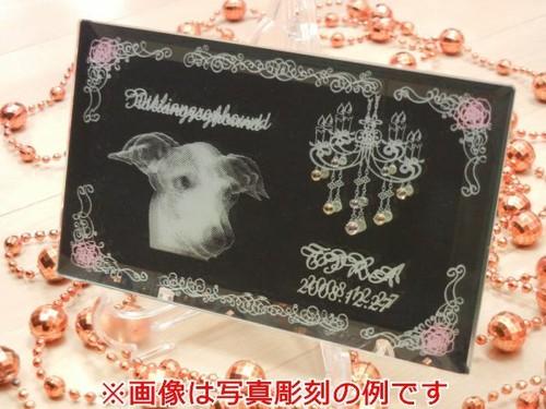 ペット写真彫刻ミニミラー デザインB 商品ID:WB-0091            ギフト包装無料 送料別途(サイズ60)