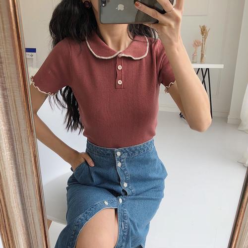 【お取り寄せ商品】♡slim embroidery polo shirt 5868