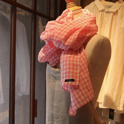R&D.M.Co-/OLDMAN'S TAILOR  densely gingham check stole pink