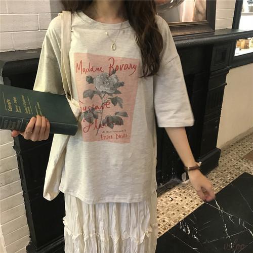 【トップス】ロマンティックローズプリントTシャツ