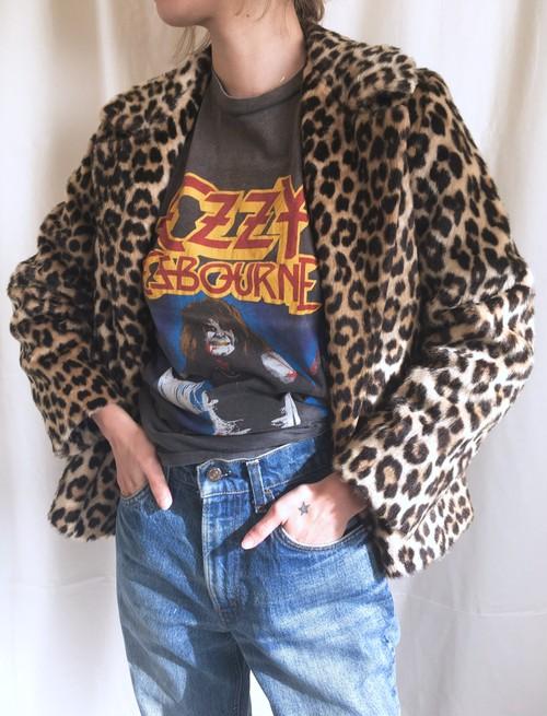 vintage leopard faux fur short coat