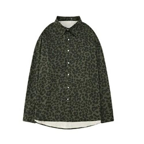 送料無料ユニセックスオーバーサイズ緑ヒョウ柄長袖シャツ