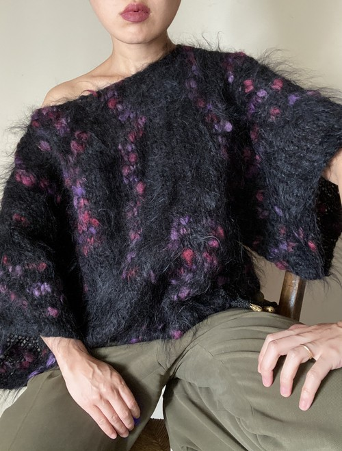 80s Mohair Short Sleeves Knit Top
