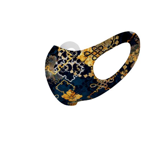 家紋装飾ブルーゴールド 和柄ファッションマスク Sサイズ