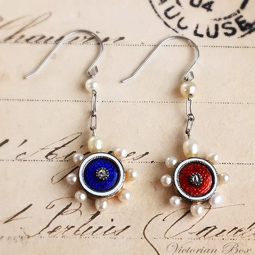 Natural Pearl Enamel Earrings