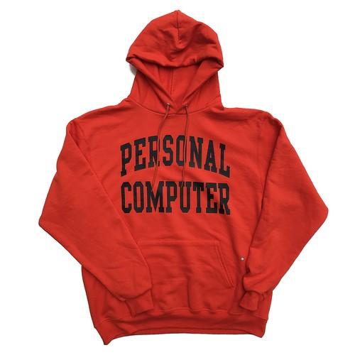 【残りわずか】PERSONAL COMPUTER UNIVERSITY ECO FLEECE PULLOVER HOODED / Orange×Black