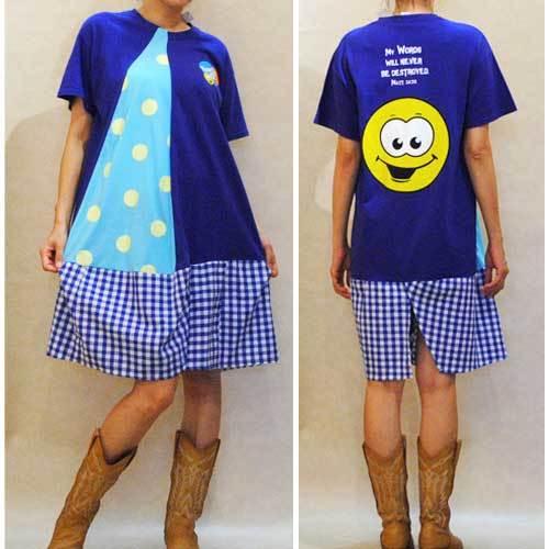 S~XLサイズ【オリジナルリメイク商品】ネイビー キャラクターTシャツ×水玉×ギンガムチェック◆ミドル丈ワンピース