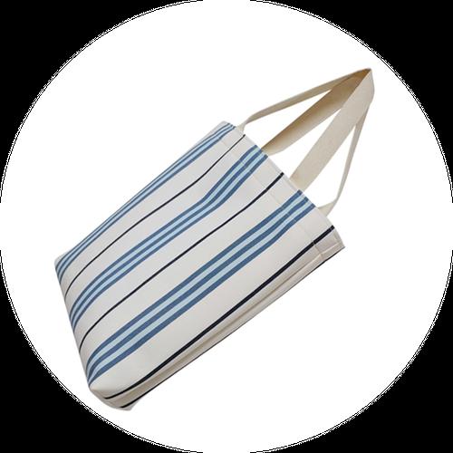 『数量限定』どこでもトートバッグ- blue stripe