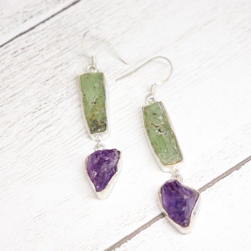 Gem Earrings(Fluorite × Amethyst)