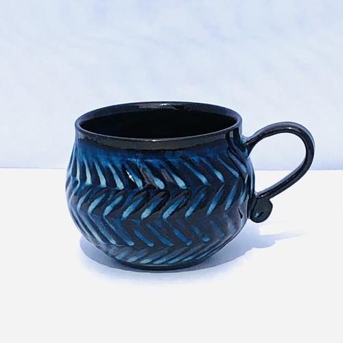 藁灰釉象嵌マグカップ