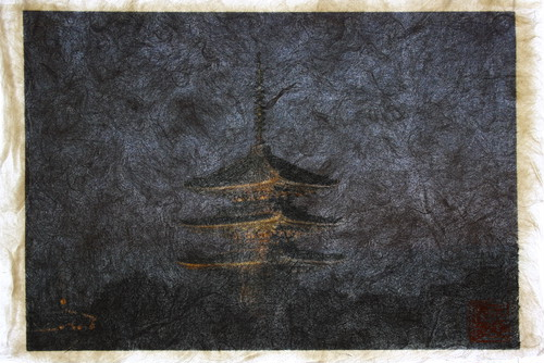 Shunsai Yonemura's artwork 夜の八坂の塔、京都 Yasaka pagoda in the night, Kyoto