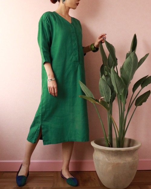 80's KENZO kaftan green dress
