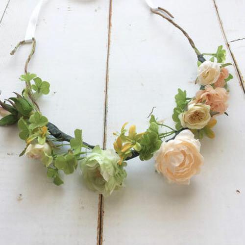 花冠 造花 アーティフィシャルフラワー ラプンツェル風 フラワーカチューシャ お子様ヘッドドレス ウエデイング ナチュラル ホワイトリボン付き