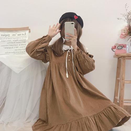 【ワンピース】日系リボンパフスリーブセーラーカラー切り替えボールガウンワンピー