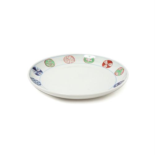 染錦丸紋5.5寸丸皿