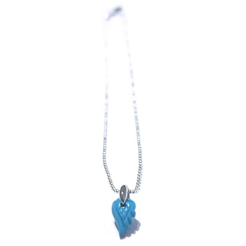 天然石のプチ羽根のネックレス(ターコイズ)