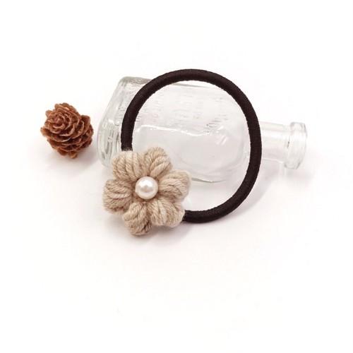 段染め小花のウールヘアゴム*ベージュ