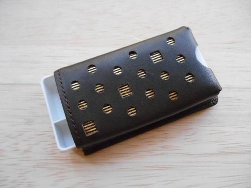 本革製 フリスクケース こげ茶 ホログラム金