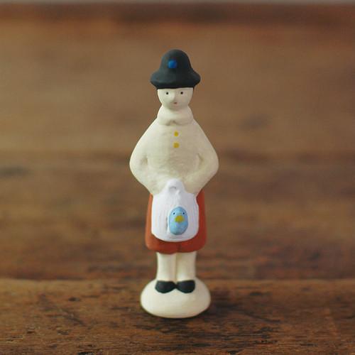 【にしおゆき】陶人形「青い鳥のチルチル」