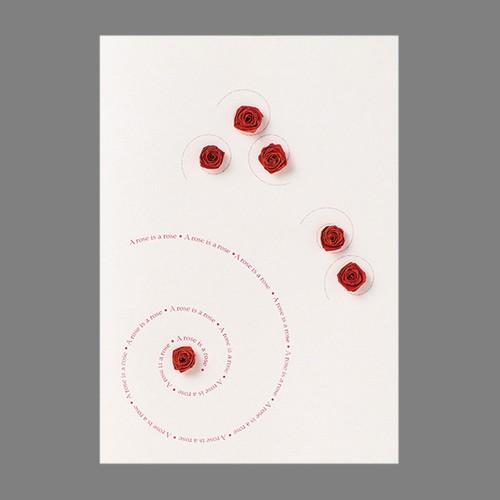 バラの咲くグリーティングカード A rose is  #150