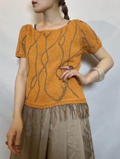 s/s fringe design summer knit