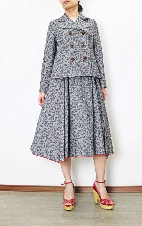国産ジャガードデニム Pジャケット(グレー花柄)