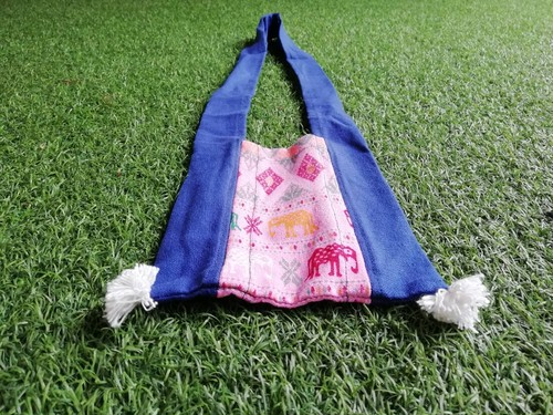 (OB017-2) 布製ミニショルダーバッグ 薄ピンク&タイ柄