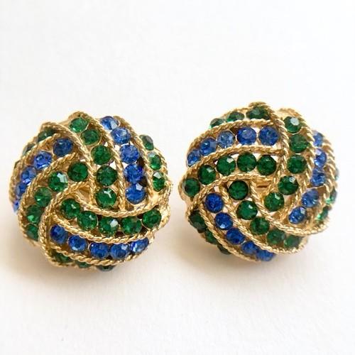 """""""Lisner"""" blue & green rhinestone earring[e-657]"""