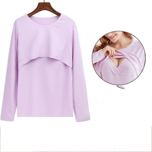 【注文商品】【マタニティー】Maternity Long Sleeve Nursing 【Purple】